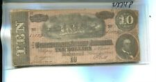 1864 $10 Confederate Currency Note Vg Off Cut 2774P