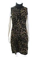 Calvin Klein Womens Turtleneck Animal Print Sweater Dress Brown Size Medium