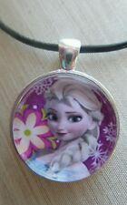 """"""" Disney's Frozen Princess ELSA """" Glass Pendant with Leather Necklace"""