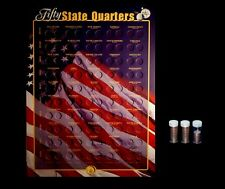 1999 thru 2008 P+D Statehood Quarter Collection Wall Mount with 101 U.S. Coins