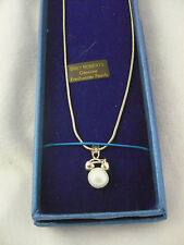 NEW Bret Roberts genuine freshwater pearl pendant necklace silvertone June B-day