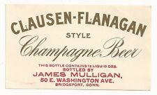 Pre-pro Clausen - Flanagan Style Champagne Beer Label - Bridgeport, CT