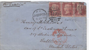 1873 QV LIVERPOOL COVER WITH THREE x 1d PENNY RED STAMPS PLATE 139 99p START!