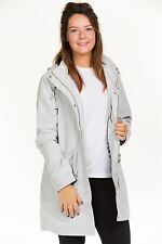 Ladies Casual Long Jacket Lining Zipper Hooded Women outwear Blue XS to XL