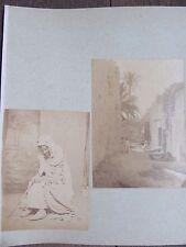 DEUX PHOTO ANCIENNES 1890 TUNISIE VIEILLARD ET ENFANTS VILLAGE
