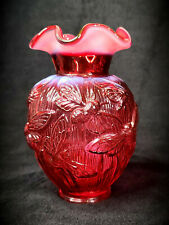 Fenton Verlys Bumble Bee Vase in Cranberry Opalescent with Label