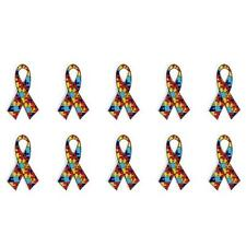 "LOT OF 10 AUTISM AWARENESS RIBBON LAPEL PINS 1.25"" Metal Enamel Tack Pin Support"