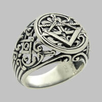 Masonic Handmade Ring Sterling Silver .925 Freemasonry Mason All Size UNIQABLE