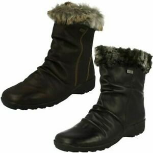 Ladies Remonte Fur Topped Ankle Boots 'D0593'