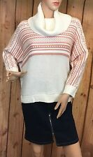 Kensie Ivory Brown Striped Knit Sweater Pullover Womens Turtle Neck Dolman SZ L