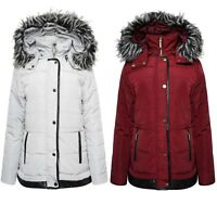 Ladies Bomber Style Quilted Padded Hooded Water Repellent Winter Coat Jacket