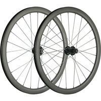 700C Disc Brake Wheelset 38mm Front+Rear Carbon Wheels Road Bicycle QR/THRU AXLE