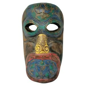 """Tribal Wood Mask Turtle Mouth Colorful Hanging Folk Art 13"""" Blue Green Yellow"""