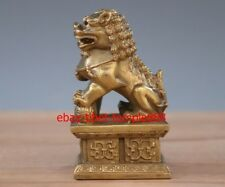 10 CM China Brass Copper Foo Fu Dog Lion play Ball Exorcise Evil Fengshui Statue