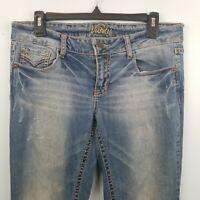 Vanity Dakota Wide Stitch Bootcut Jeans Stretch Denim Blue Womens Size 28W 33L