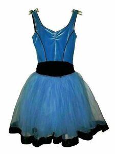 CURTAIN CALL Size M CM Dance Costume Blue Black Bow Ribbon Velvet Jazz Ballet