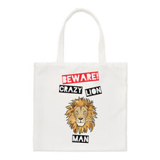 Beware Crazy Lion Man Regular Tote Bag Funny Animal Shopper Shoulder