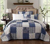 DaDa Bedding Bohemian Denim Blue Elegant Patchwork Floral Cotton Bedspread Set