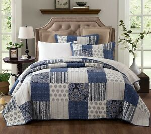 DaDa Bedding Cotton Bohemian Denim Blue Farmhouse Patchwork Floral Bedspread Set