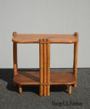 Vintage Tiki Palm Beach Bamboo Rattan Side Table Bookshelf w Leather Ties