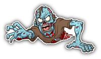 "Zombie Crawling Cartoon Car Bumper Sticker Decal 6"" x 3"""