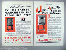 Stewart-Warner Radio PRINT AD - 1930 ~~ LOT of 2 diff. ads