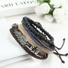 Stainless Steel Men's Braided Bracelet Wristband Cuff Bangle Leather
