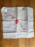 Vintage White Embroidered Candy Cane Hankie New, Tags Handkerchief Holiday Xmas
