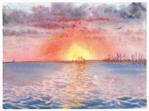 original painting 30 x 40 cm 138PO art watercolor seascape sunset Berdyansk port