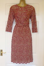 NEW - Ladies Red Patterned Knee Length Lace Style Evening Dress - Size 12