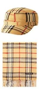 UniSex 2 Piece Plaid Cashmere Feel Cadet Every Day Hat & Scarf Set