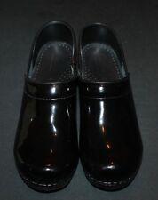 Women's Sanita Professional Black Patent Leather Clogs EU 38