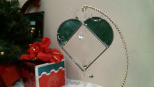 Stained Glass Green Beveled Heart W Beads suncatcher or ornament