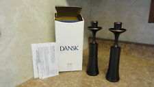 "NIB DANSK DESIGN W/ LIGHT SET OF 2 METAL CANDLEHOLDERS MADE IN INDIA 9"" TALL  #1"