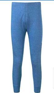 Mens Thermal Long Johns Pants Leggings Warm 0.45 Tog - BLUE - SIZE MEDIUM