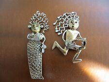 VINTAGE 90s. Signed  Artisan Woman/Man  Brooch sterling/brass metal CZ.Stones.