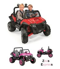 Jeep Ride On Grass Dirt For 2 Kids 12V Battery 2 Speeds - Reverse  Toy Red Pink