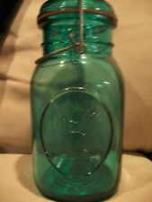 Vintage Style Ball Mason Quart Jar Ideal Blue Green Size Wire Top Clamp Eagle #8