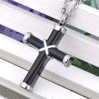 Black Cross Pendant Memorial Cremation Jewelry for Ashes Keepsake Urn Necklace