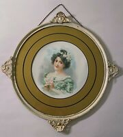 Antique Flue Cover Victorian Lithograph Pretty Lady Metal Filigree Adornments
