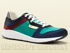 GUCCI Mens 11.5G* turquoise/navy Multicolor Satin IPANEMA Crest Sneakers NIB Ath