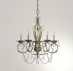 Hampton Bay five light chandelier Tuscan bronze finish with gold accent