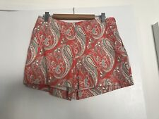 BNWT, Piper Ladies High Waisted, Tailored Shorts, Paisley Design, Size 14