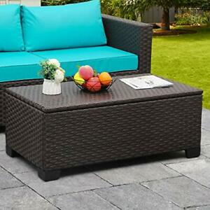 Outdoor Storage Table, Wicker Patio Coffee Table and Rattan Side Table with PP