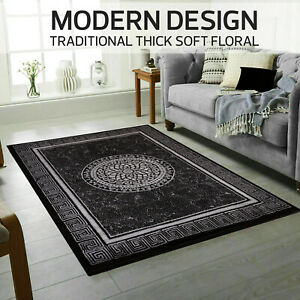 Traditional Thick SoftBlack Brown Grey Floor Carpet Living Room Area Rug