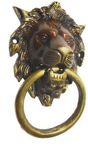 Lion Old Vintage Antique Finish Handmade Brass Door Knocker Pull Knob Home Decor