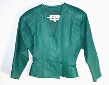 CHIA - XS - Mint Vintage 80's - Solid Emerald Green - 100% Leather Crop Jacket