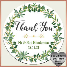 Personalised Eucalyptus Floral Wedding Stickers - Glossy Favour Labels - Foliage