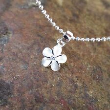 8mm Plumeria Flower CZ Stone Hawaiian Genuine Silver Pendant Necklace #SP43401
