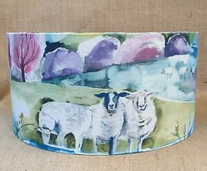 Country Voyage BUTTERMERE sweet pea sheep drum lampshade 15 20 25 30 35 40cm